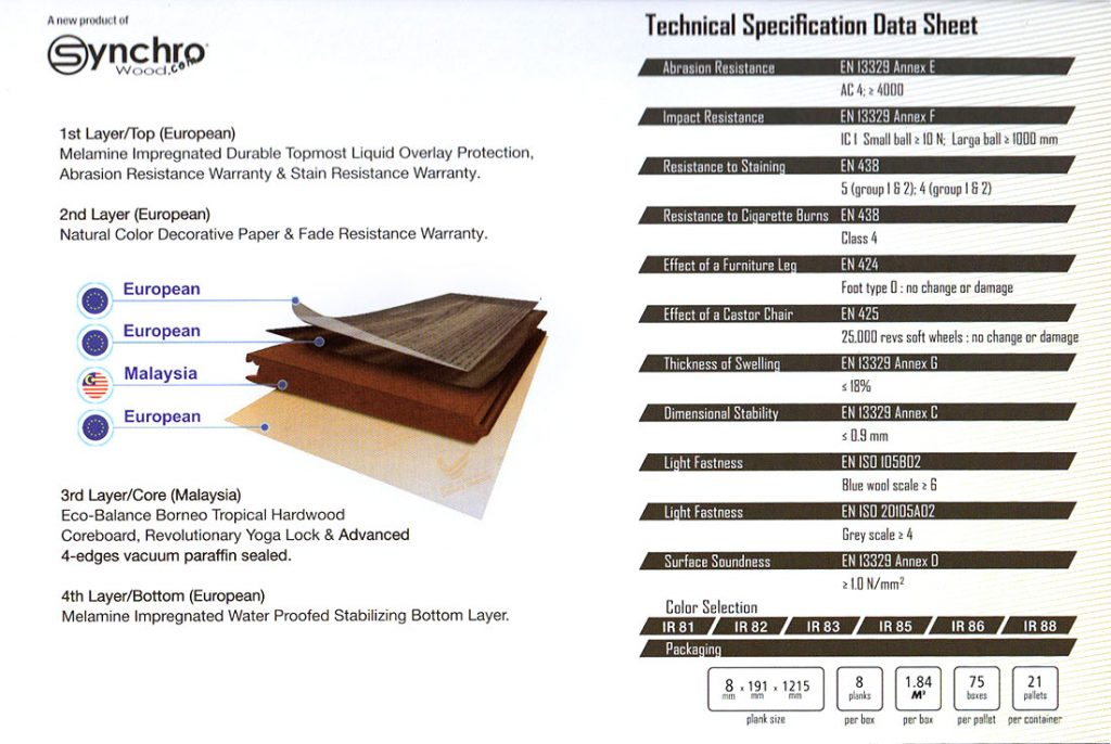 Laminate Flooring Rain Forest - Island Resistance Series ( IR ) Technical Spesification Data Sheet